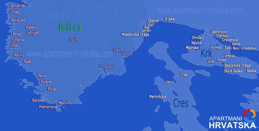 Pretraga apartmana po karti za regiju Istra