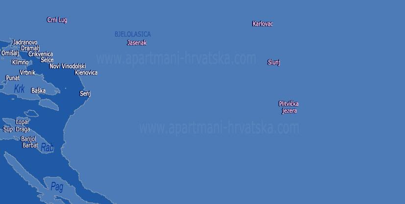 Pretraga apartmana po karti za regiju Plitvička jezera i Karlovac