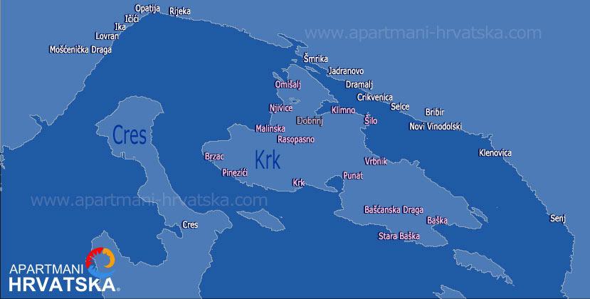 Pretraga apartmana po karti za regiju otok Krk