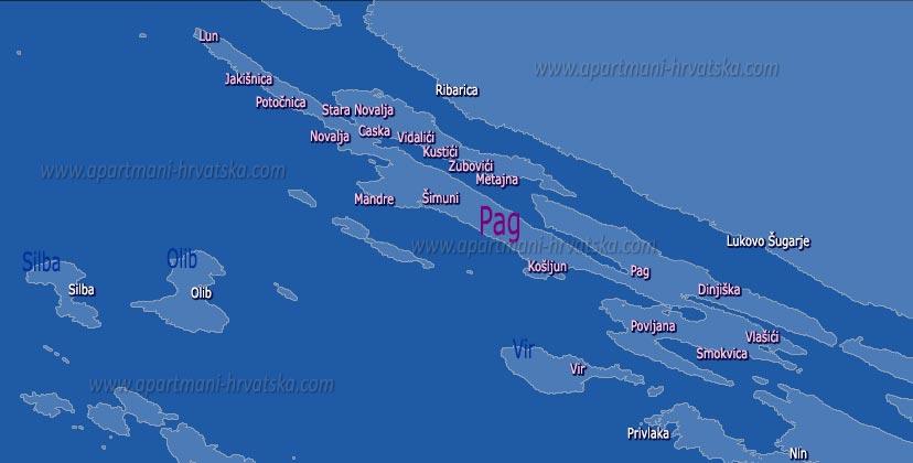 Apartmani Hrvatska - pretraga apartmana po karti za mjesto Lun na otoku Pagu