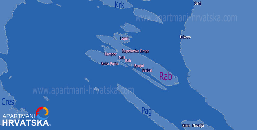 Apartmani Hrvatska - pretraga apartmana po karti za mjesto Banjol na otoku Rabu