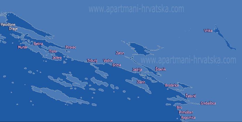 Pretraga apartmana po karti za regiju Šibenska rivijera