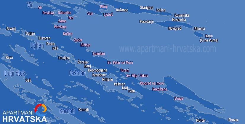 Pretraga apartmana po karti za regiju Zadarska rivijera